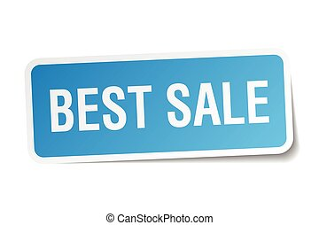 best sale blue square sticker isolated on white