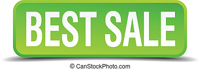 best sale green 3d realistic square isolated button