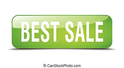 best sale green square 3d realistic isolated web button