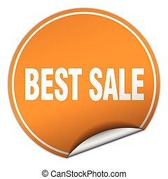 best sale round orange sticker isolated on white