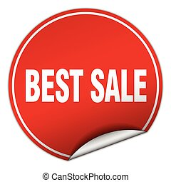 best sale round red sticker isolated on white