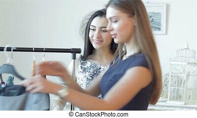 Smiling girl doing shopping