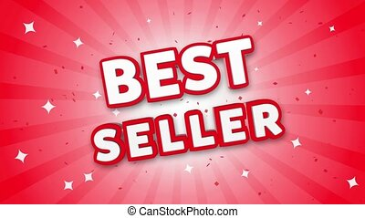 Best Seller 3D Text on Red Sparkling Falling Confetti Background. ad, Promotion, Discount Offer Sale Loop Animation.