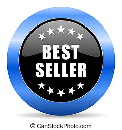 Best seller black and blue web design round internet icon with shadow on white background.