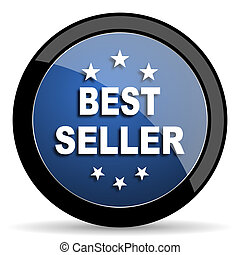 best seller blue circle glossy web icon on white background, round button for internet and mobile app