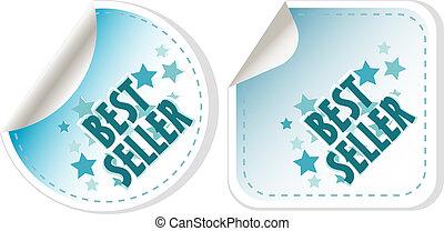 Best seller blue stickers set. vector label