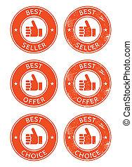 Best seller, choice, offer retro gr - Vintage labels set ...
