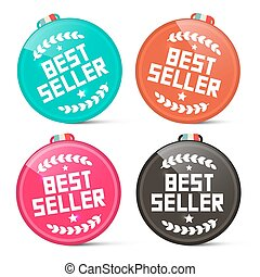 Best Seller Circle Medals Retro Vector Set Isolated on White Background