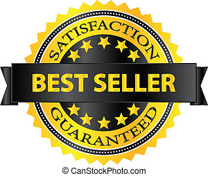 Best Seller Five Stars Golden Badge Award Vector...