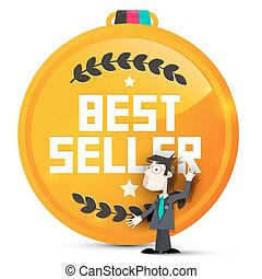 Best Seller Gold Medal with Business Man Vector Isolated on White Background