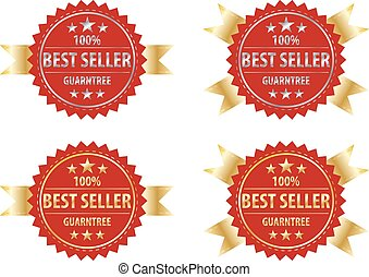 best seller gold sign and silver sign , label template