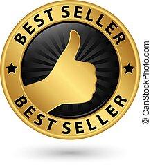 Best seller golden label, vector illustration
