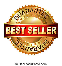 Best Seller golden label with ribbon.