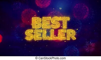 Best Seller Greeting Text Sparkle Particles on Colored Fireworks