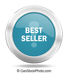 best seller icon, blue round glossy metallic button, web and mobile app design illustration