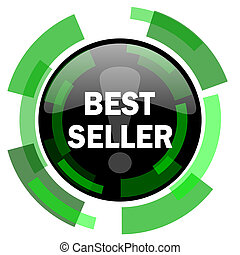best seller icon, green modern design isolated button, web and mobile app design illustration