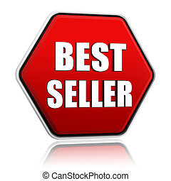 best seller in red hexagon banner
