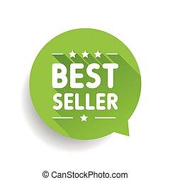 Best seller label green speech bubble