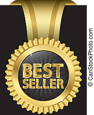 Best seller label with golden ribbo