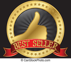 Best seller label with thumb up and red ribbon, vector