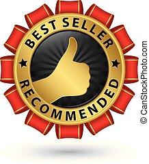 Best seller recommended golden label, vector illustration