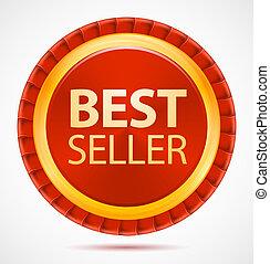 Best seller, red label, vector
