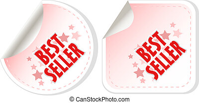 Best seller red stickers set. vector