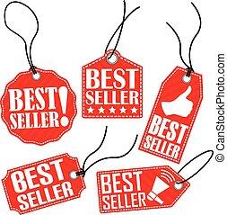 Best seller red tag set, vector illustration