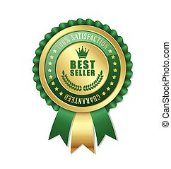 Best seller rosette placed on white background