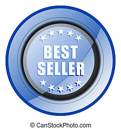 Best seller round blue glossy web design icon isolated on white background