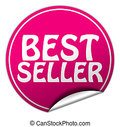 Best seller round pink sticker on white background