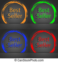 Best seller sign icon. Best-seller award symbol. Fashionable modern style. In the orange, green, blue, red design.