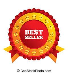 Best seller sign icon. Best seller award symbol. Red award...