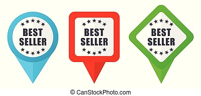 Best seller sign red, blue and green vector pointers icons. Set of colorful location markers isolated on white background easy to edit