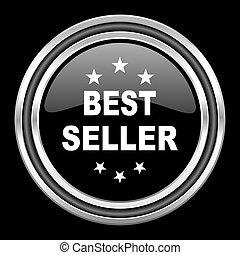 best seller silver chrome metallic round web icon on black background