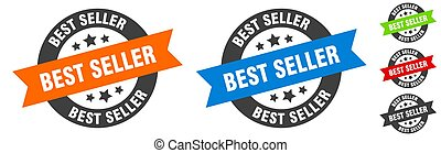 best seller stamp. best seller round ribbon sticker. tag