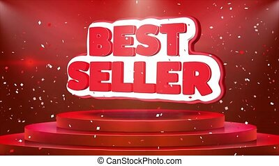 Best Seller Text Animation Stage Podium Confetti Loop...