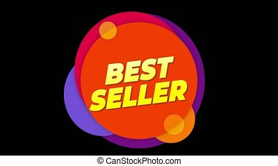 Best Seller Text Sticker Colorful Sale Popup Animation.