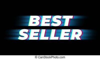 Best Seller Text Glitch Effect Promotion Advertisement Loop Background. Price Tag, Sale, Discounts, Deals, Special Offers, Green Screen and Alpha Matte