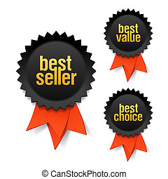 Best seller, best value and best choice labels with ribbon