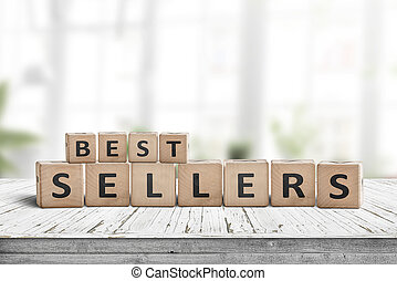 Best sellers sign on a wooden desk