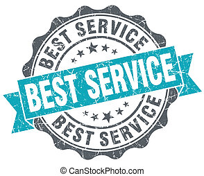 Best service blue grunge retro style isolated seal