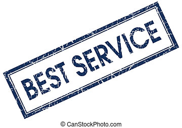 best service blue square stamp