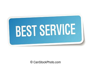 best service blue square sticker isolated on white