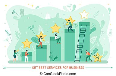 Best Service Business Rate People with Star Vector