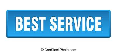 best service button. best service square blue push button