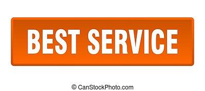 best service button. best service square orange push button