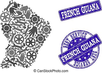 Best Service Collage of Map of French Guiana and Textured Seals