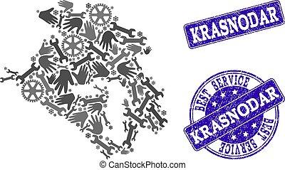 Best Service Composition of Map of Krasnodar Krai and Grunge...