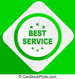 best service green flat icon